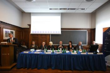 Panel debate on the future of Europe. From left: Fabiano Schivardi, Sergio Fabbrini, Giuliano Amato, Marian Harkin, Jean-Claude Piris, Turkuler Isiksel, Yves Meny and Giovanni Orsina.