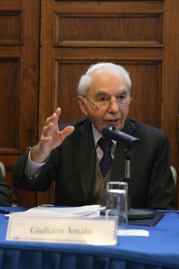 Giuliano Amato at the panel debate on the future of Europe.