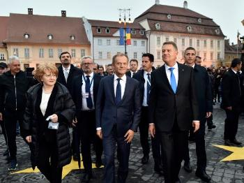 European leaders walking in Sibiu